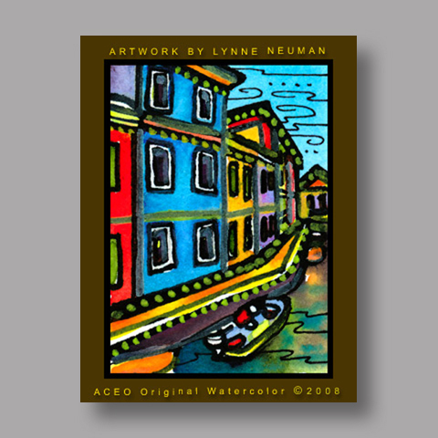 Signed ACEO Print *Venice Italy Burano #2209* by Lynne Neuman