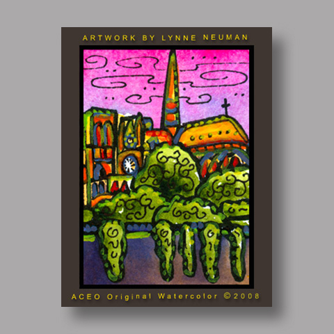 Signed ACEO *Notre Dame Paris France #2395* by Lynne Neuman