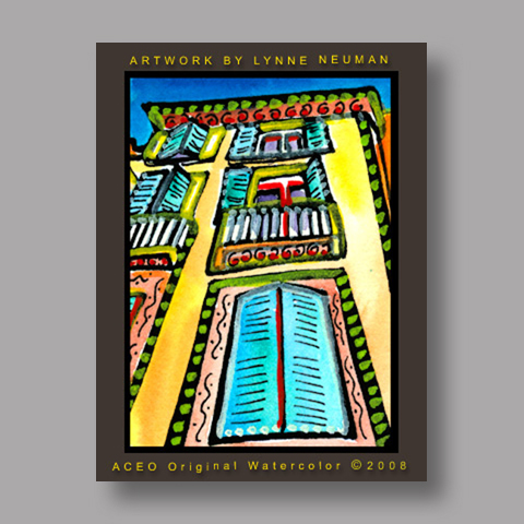 Signed ACEO *French Windows #2416* by Lynne Neuman