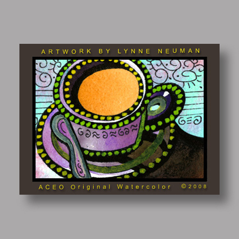 Signed ACEO Print *Morning Coffee #2517* by Lynne Neuman