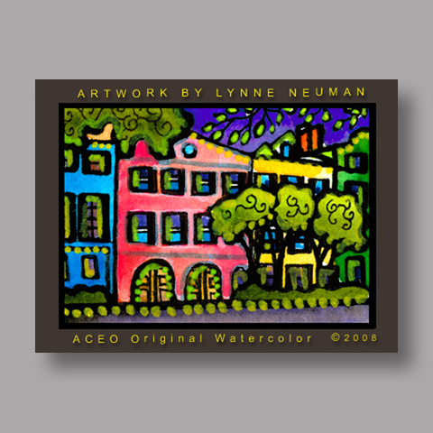 Signed ACEO Print *Rainbow Row #2585* by Lynne Neuman