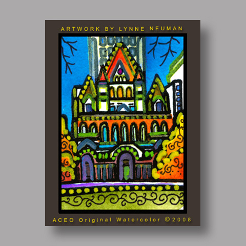 Signed ACEO *Trinity Church Boston #2591* by Lynne Neuman