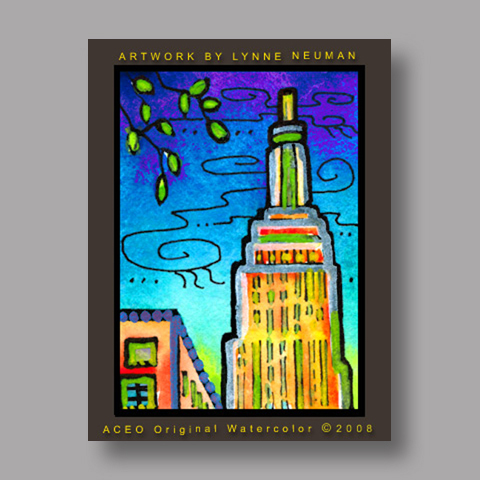 Signed ACEO *Empire State Building New York City #2592* by Lynne Neuman