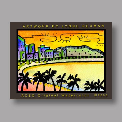 Signed ACEO Print *Waikiki Hawaii Sunset #2629* by Lynne Neuman