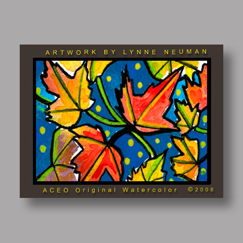 Signed ACEO Print *Autumn Leaves #2631* by Lynne Neuman