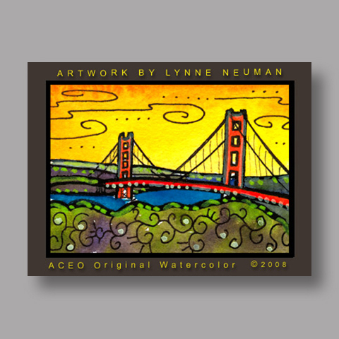 Signed ACEO Print *Golden Gate SF #2640* by Lynne Neuman