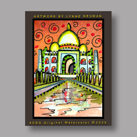 Signed ACEO Print *Taj Mahal India #2644* by Lynne Neuman