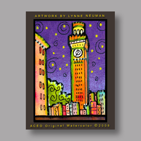 Signed ACEO *Baltimore Maryland Bromo Seltzer Tower #2662* by Lynne Neuman