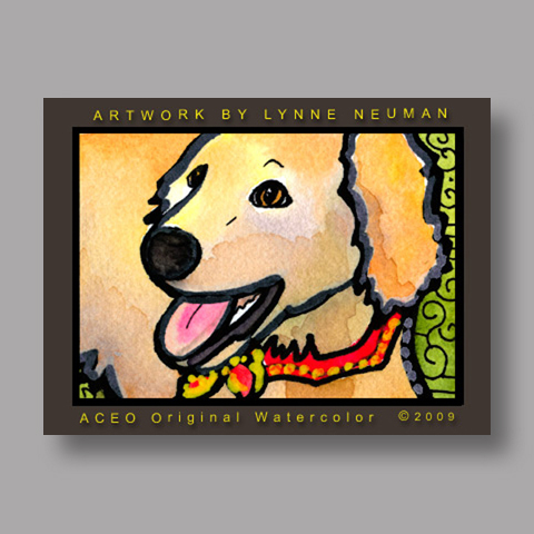 Signed ACEO Print *Golden Retriever #2671* by Lynne Neuman