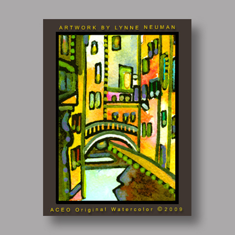 Signed ACEO Print *Venice Italy Canal Homes #2878* by Lynne Neuman
