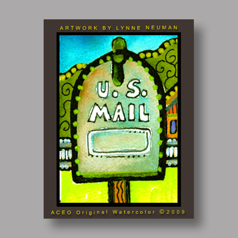 Signed ACEO *U.S. Mail Metal Mailbox #2879* by Lynne Neuman