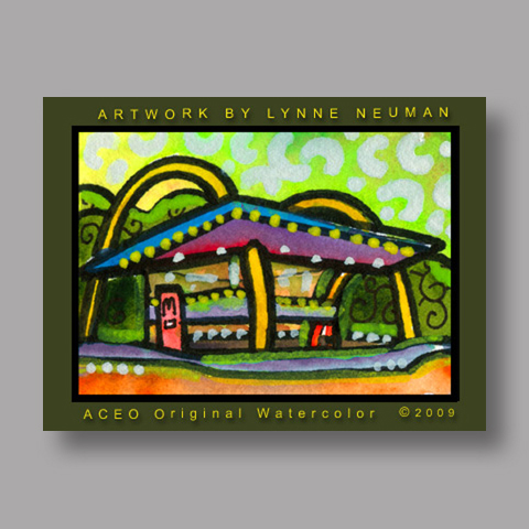 Signed ACEO *Retro Old Fashioned McDonalds #2919* by Lynne Neuman