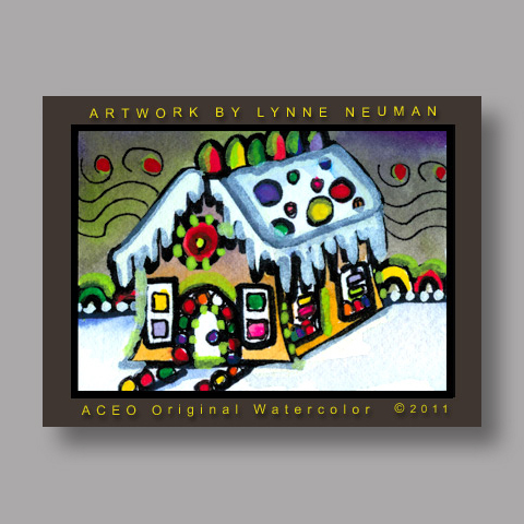 Signed ACEO Print *Christmas Gingerbread House #3135* by Lynne Neuman