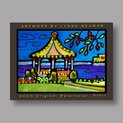 Signed ACEO Print *Niagara on the Lake Gazebo Canada #3164* by Lynne Neuman