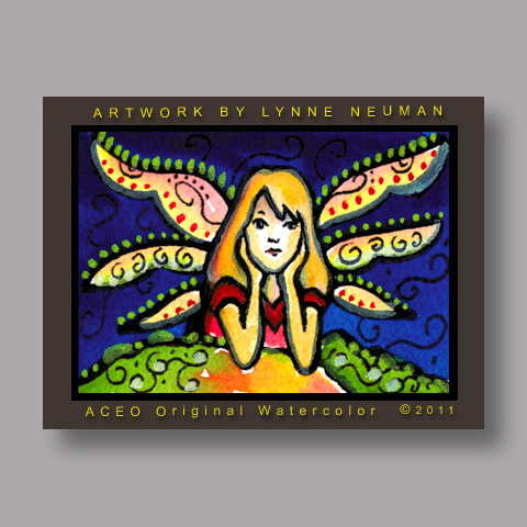 Signed ACEO *Fairy Girl with Wings #3187* by Lynne Neuman