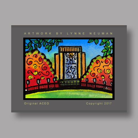 Signed ACEO *Notre Dame Touchdown Jesus #4208* by Lynne Neuman