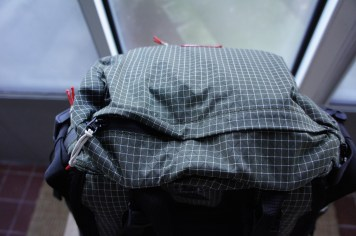 Top flap on the Rucksack.