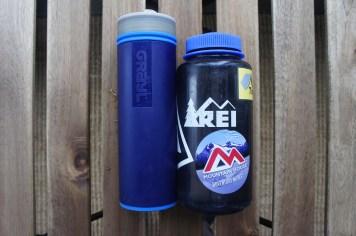 The Ultralight Purifier [+Filter] Bottle is slightly taller and narrower than a standard Nalgene.