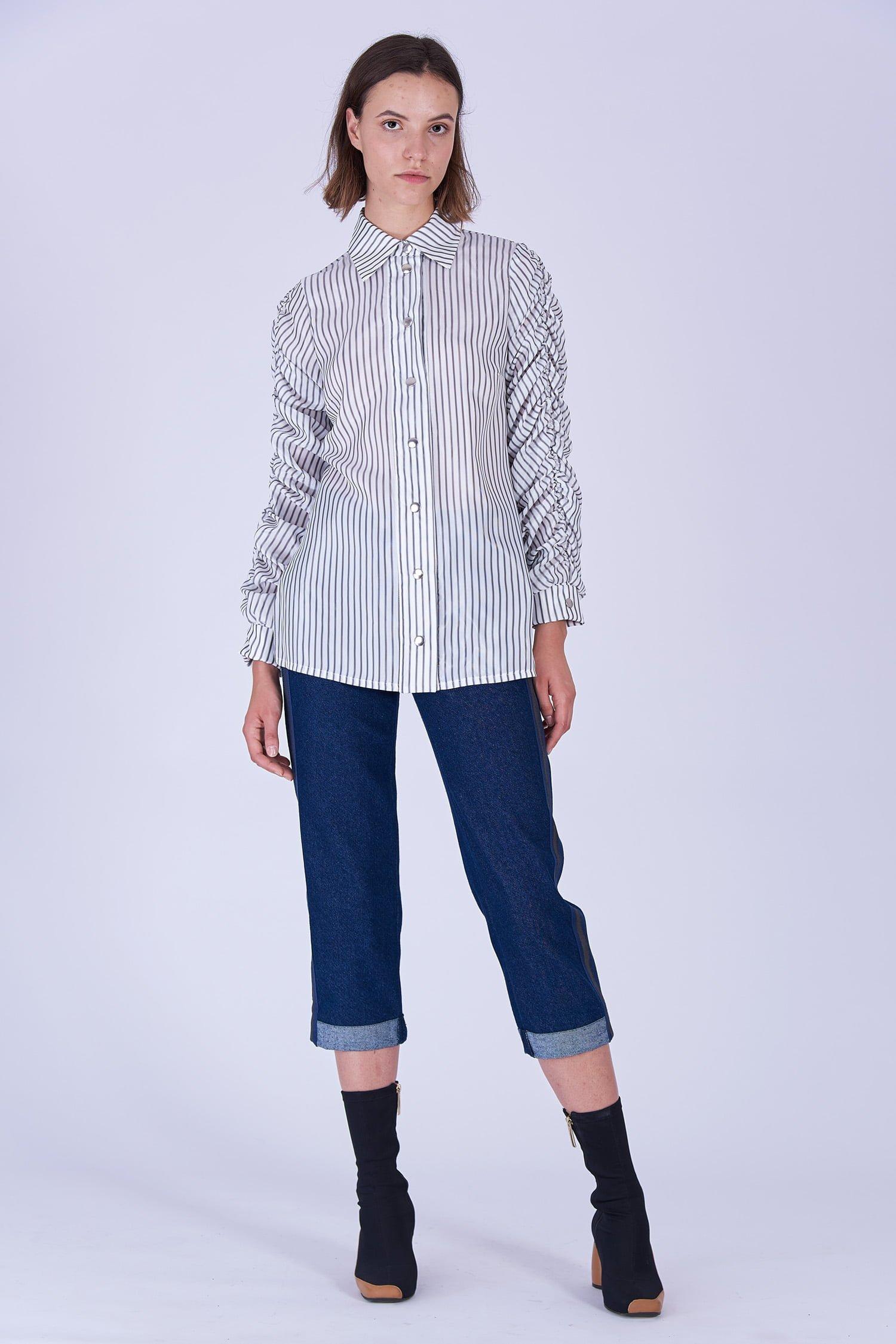 Acephala Fw19 20 White Striped Buttoned Shirt Biala Koszula Paski Front 1