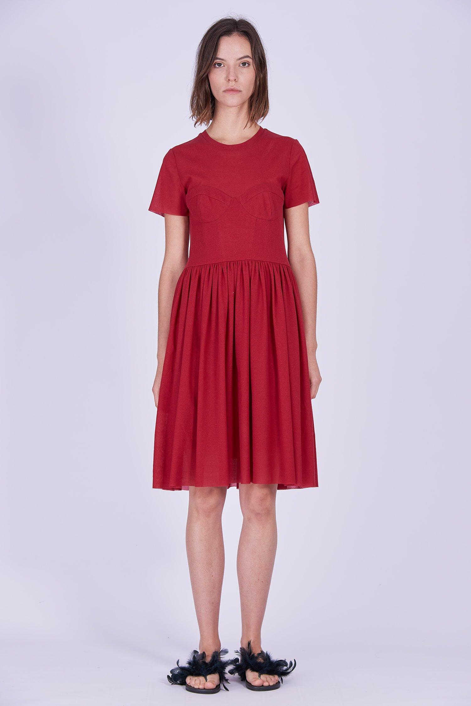Acephala Ps2020 Red Midi Date Dress Czerwona Sukienka Wieczorowa Randka Front