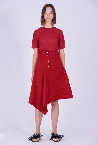 Acephala Ps2020 Red Midi Asymmetric Button Closure Skirt T Shirt Construction Czerwona Spodnica Konstrukcyjna Czerwony Front