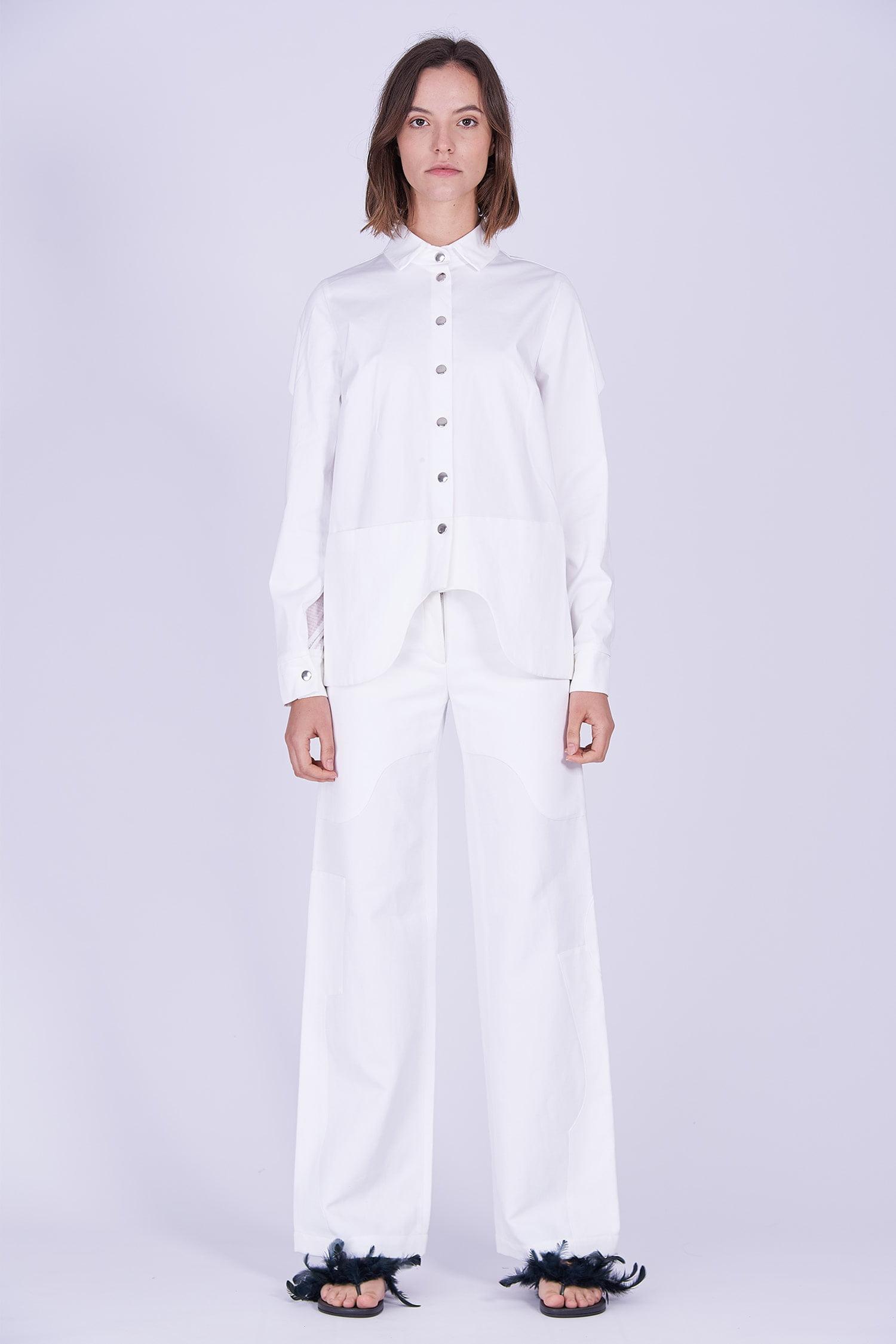 Acephala Ps2020 White Shirt White Trousers Front