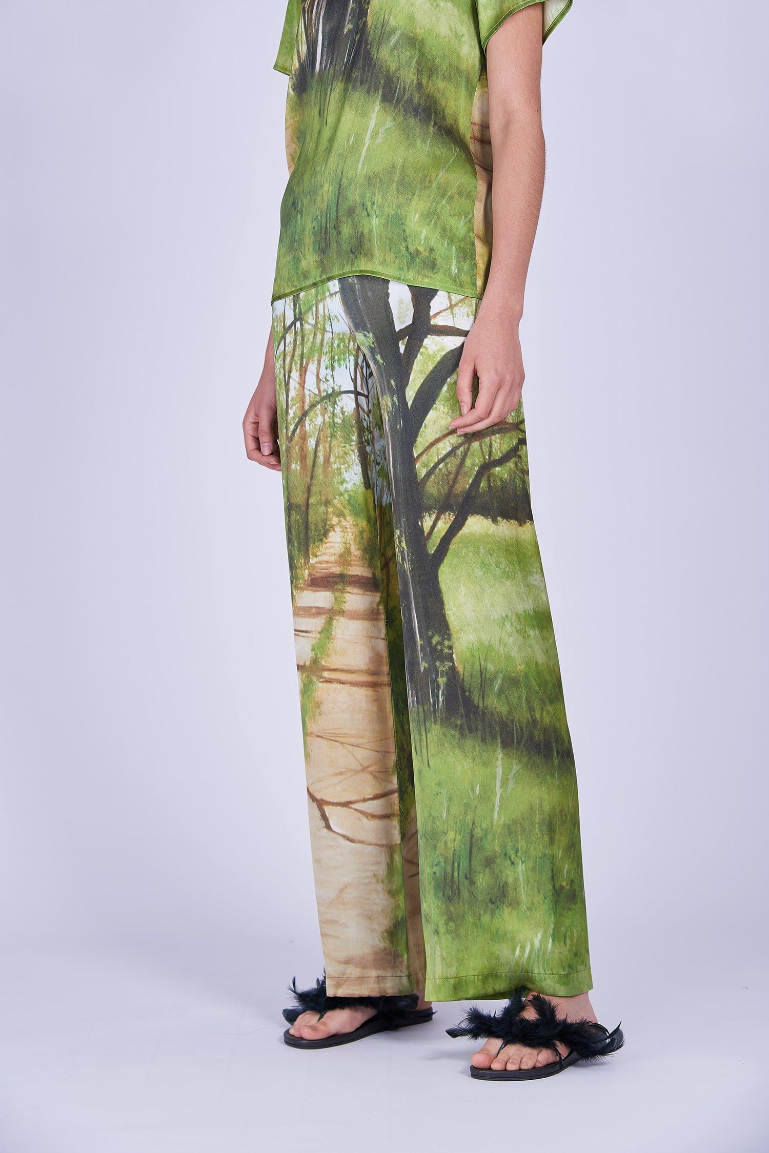 Acephala Ss2020 Printed Silk Tshirt Loose Trousers Jedwabny Jedwabne Luzne Spodnie Detail 2