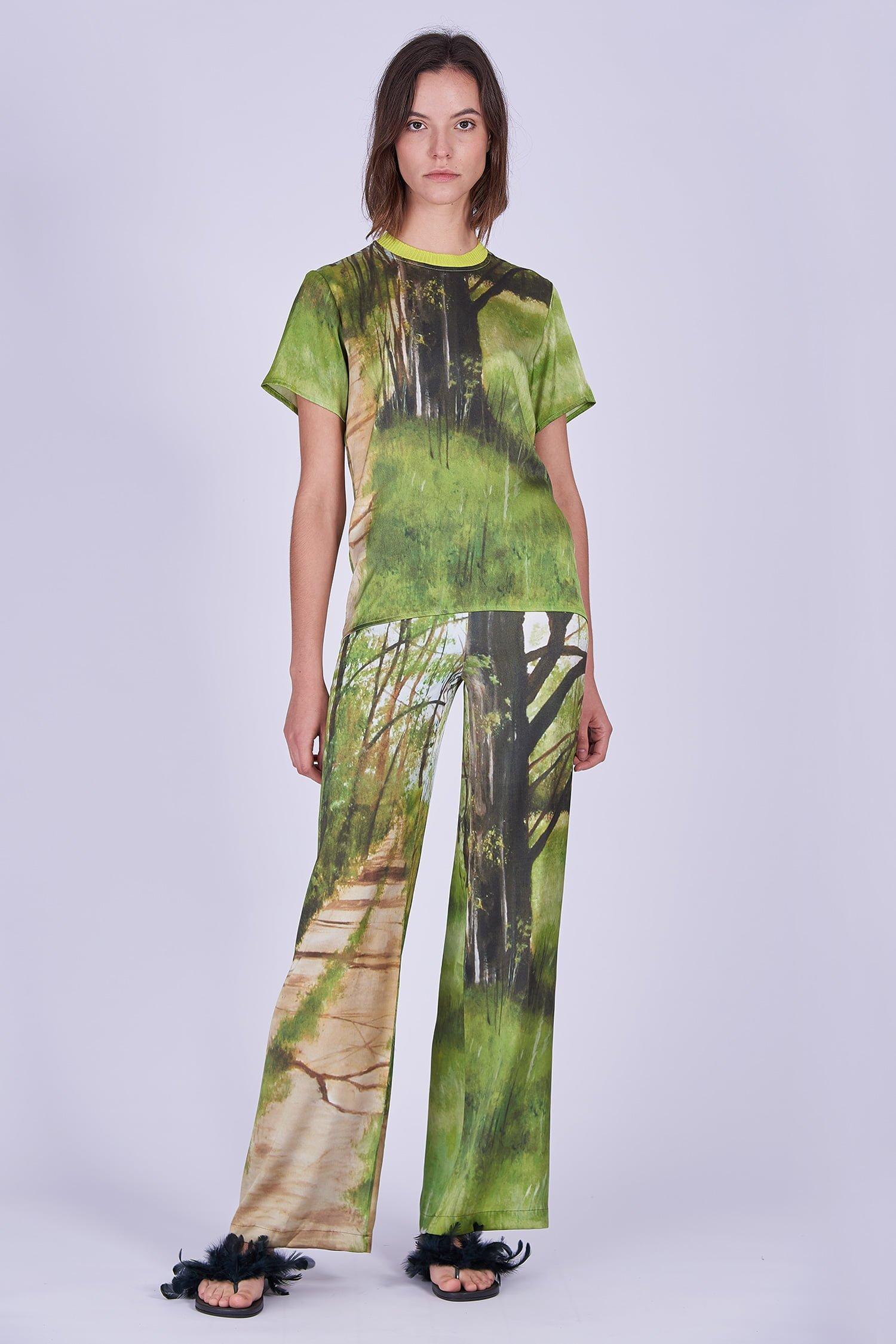 Acephala Ss2020 Printed Silk Tshirt Loose Trousers Jedwabny Jedwabne Luzne Spodnie Front 1
