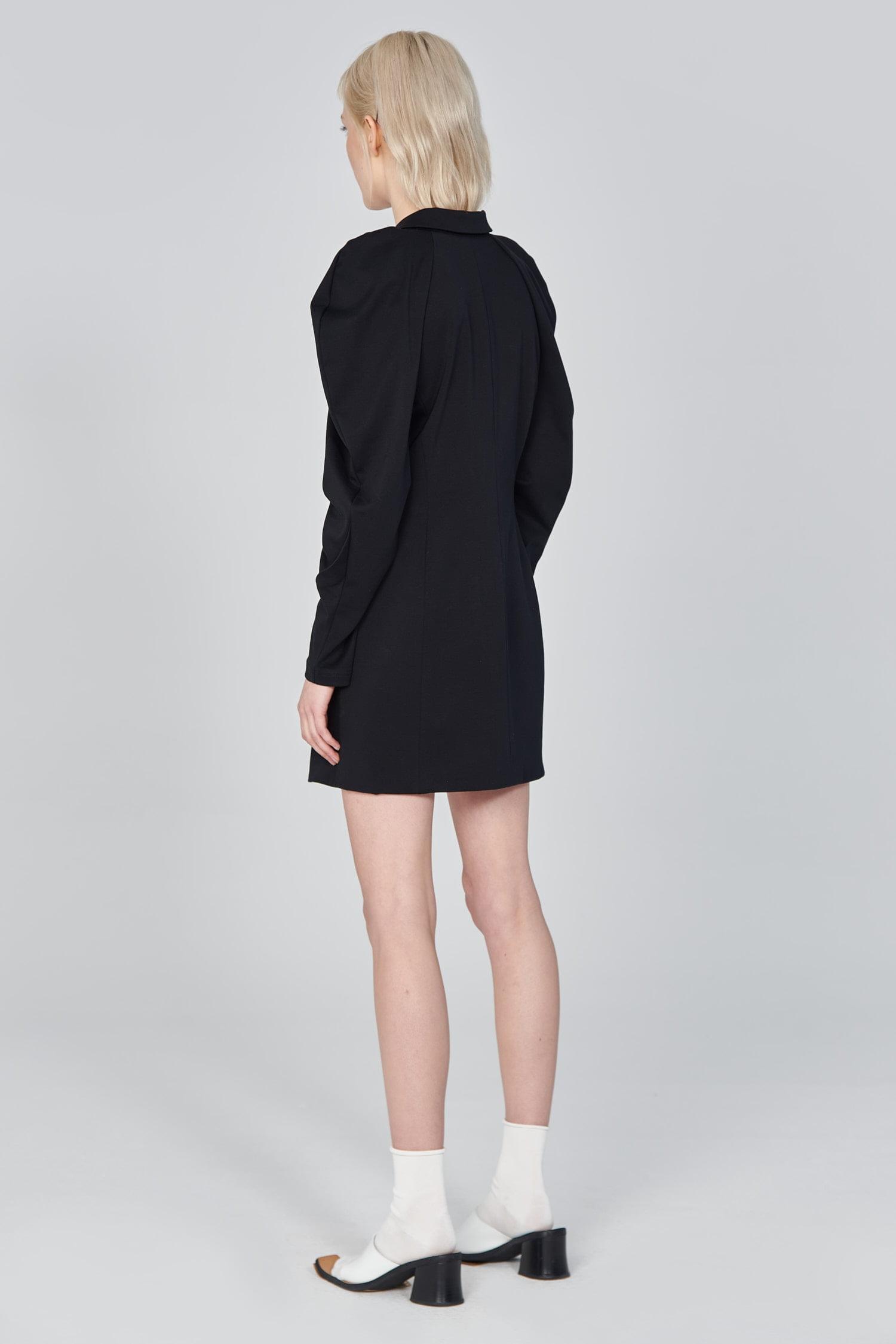 Acephala Ss21 Black Long Tailored Jacket Back Side Top Only