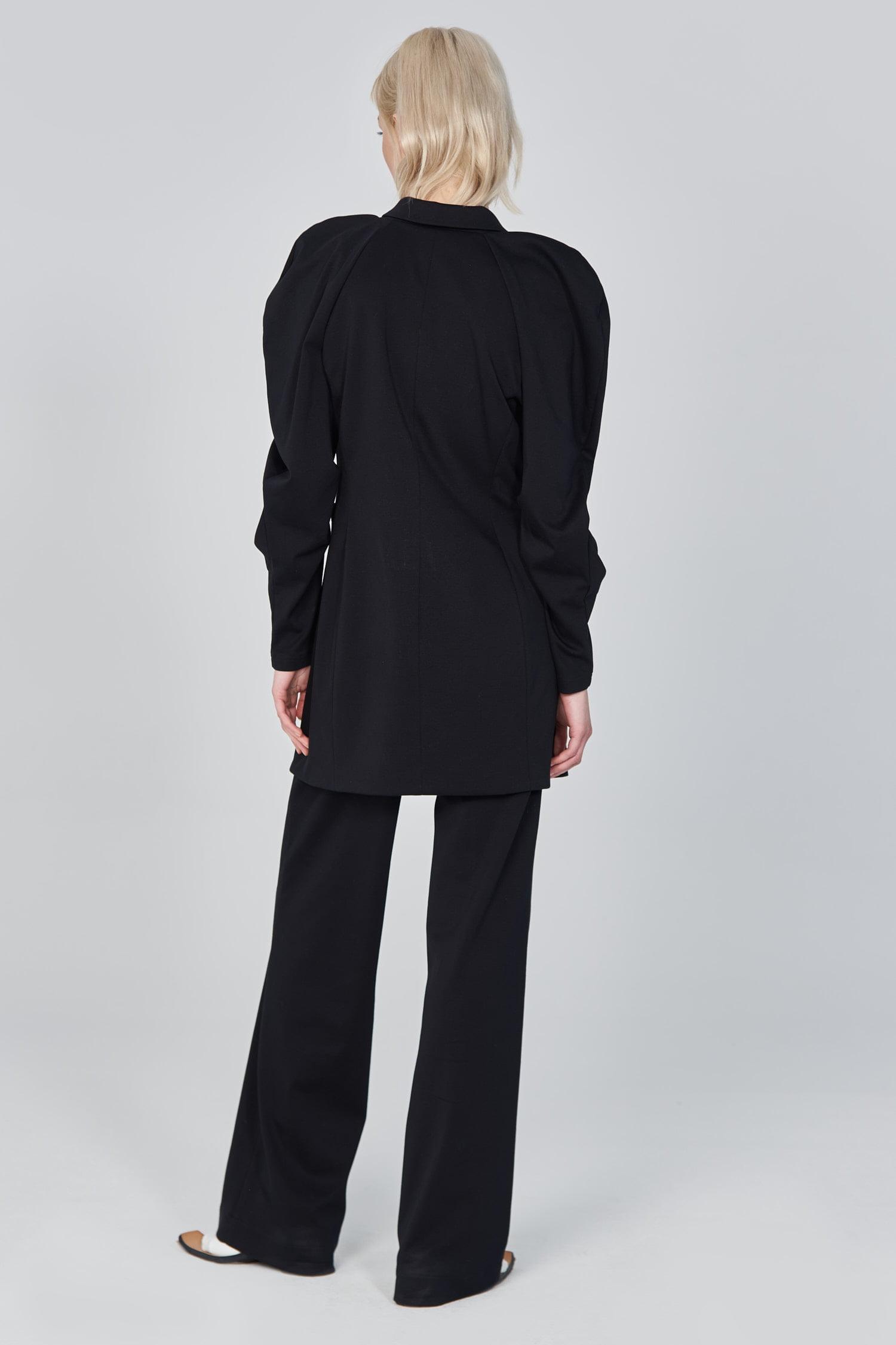 Acephala Ss21 Black Long Tailored Jacket Back