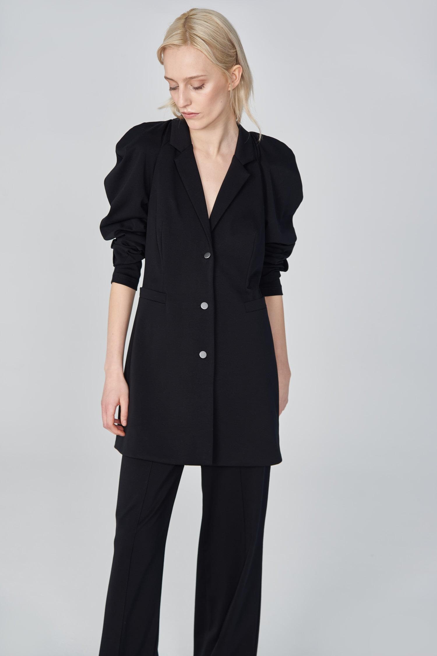 Acephala Ss21 Black Long Tailored Jacket Front Detail