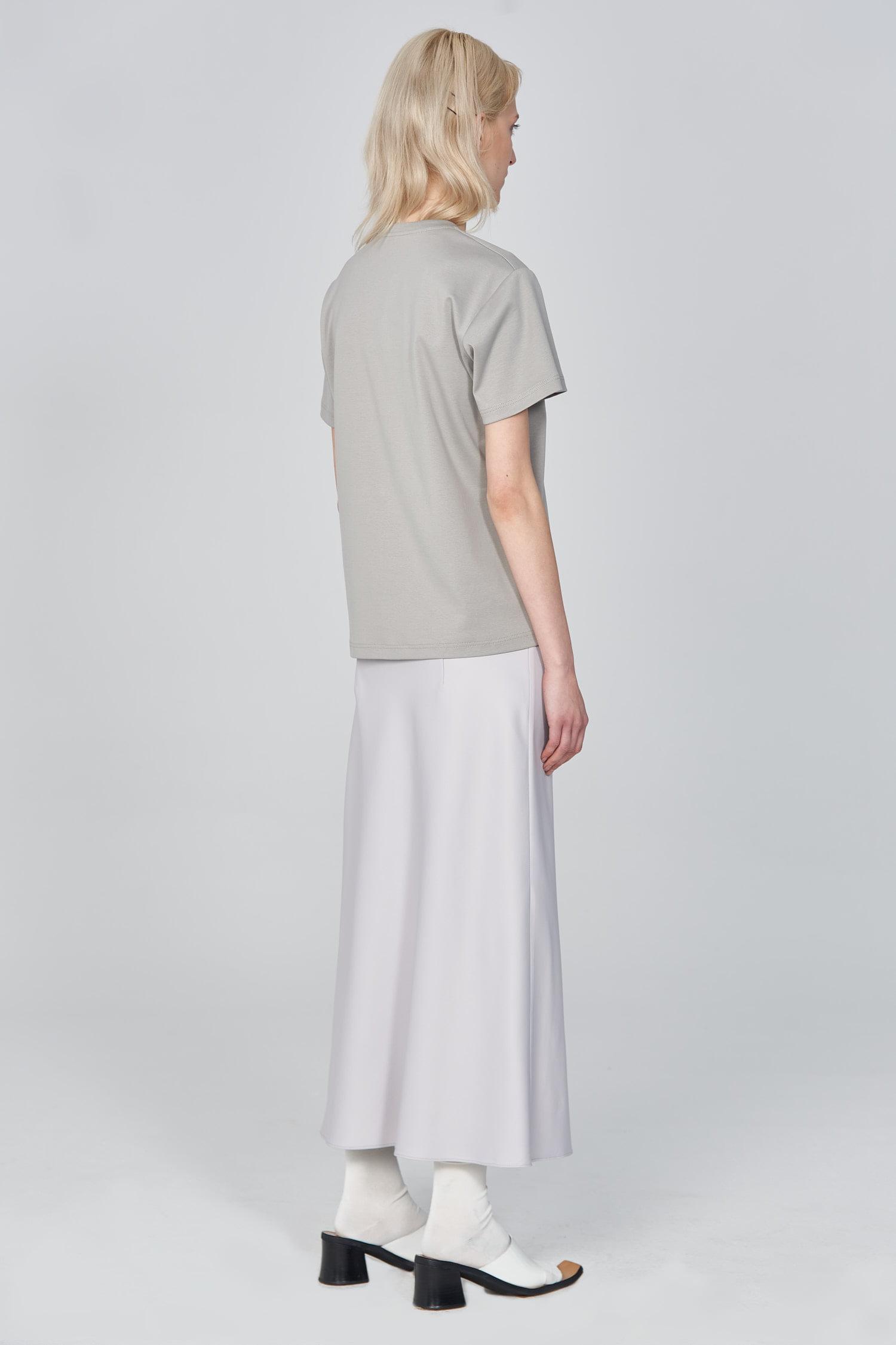 Acephala Ss21 Grey Logo T Shirt Silver Satin Skirt Sice Back
