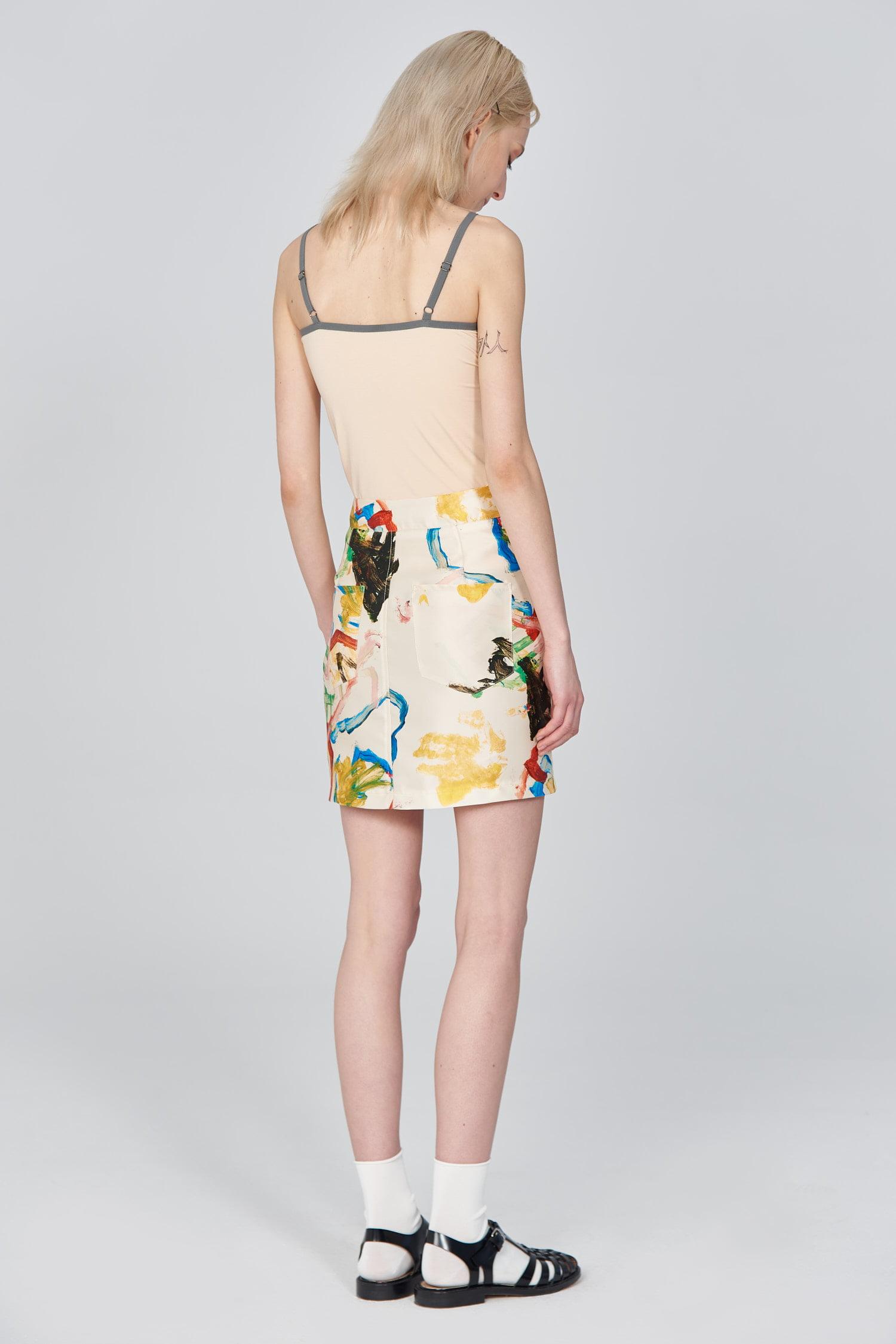 Acephala Ss21 Printed Mini Skirt Side Back