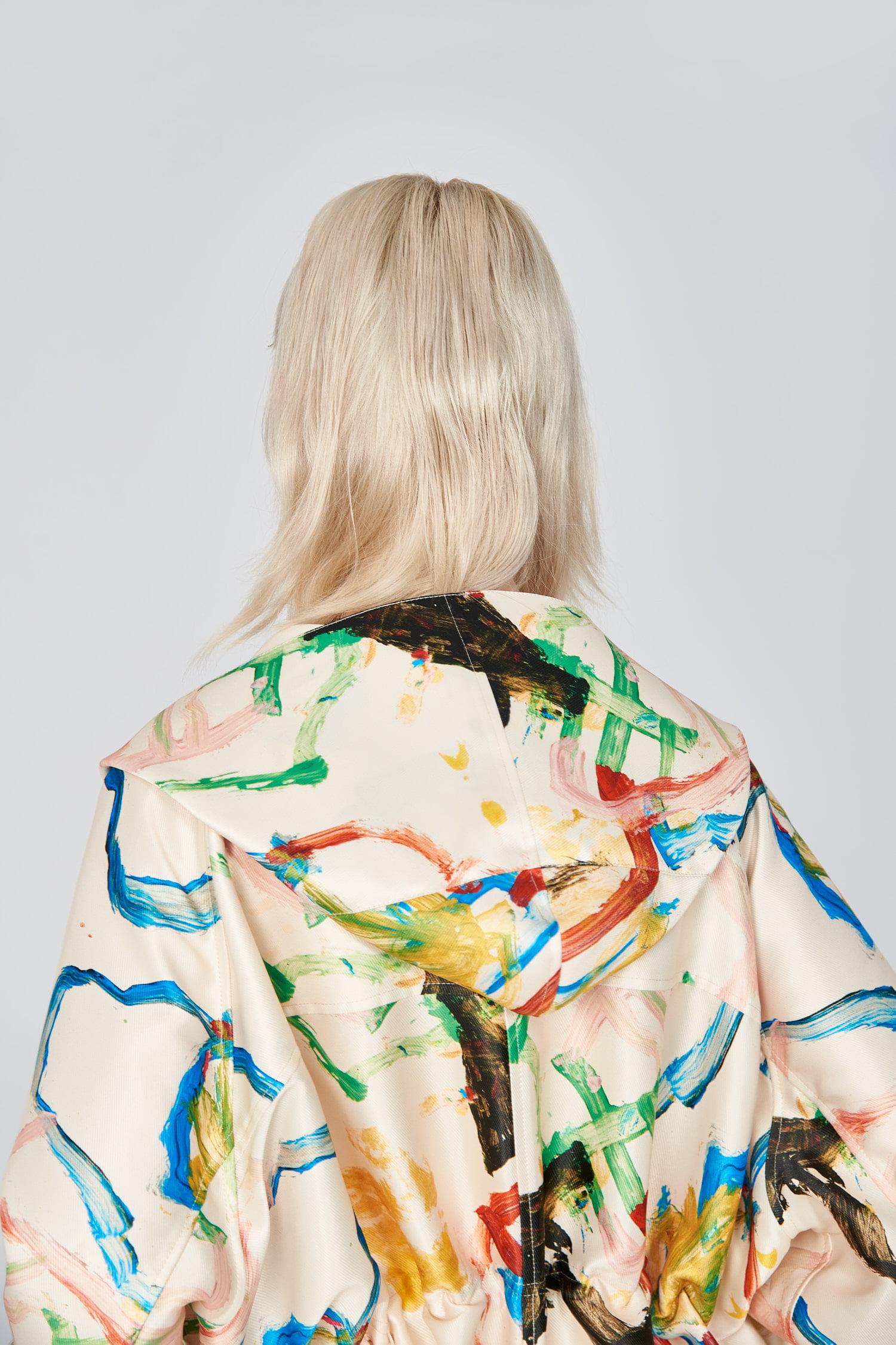Acephala Ss21 Printed Parka Coat Back Detail
