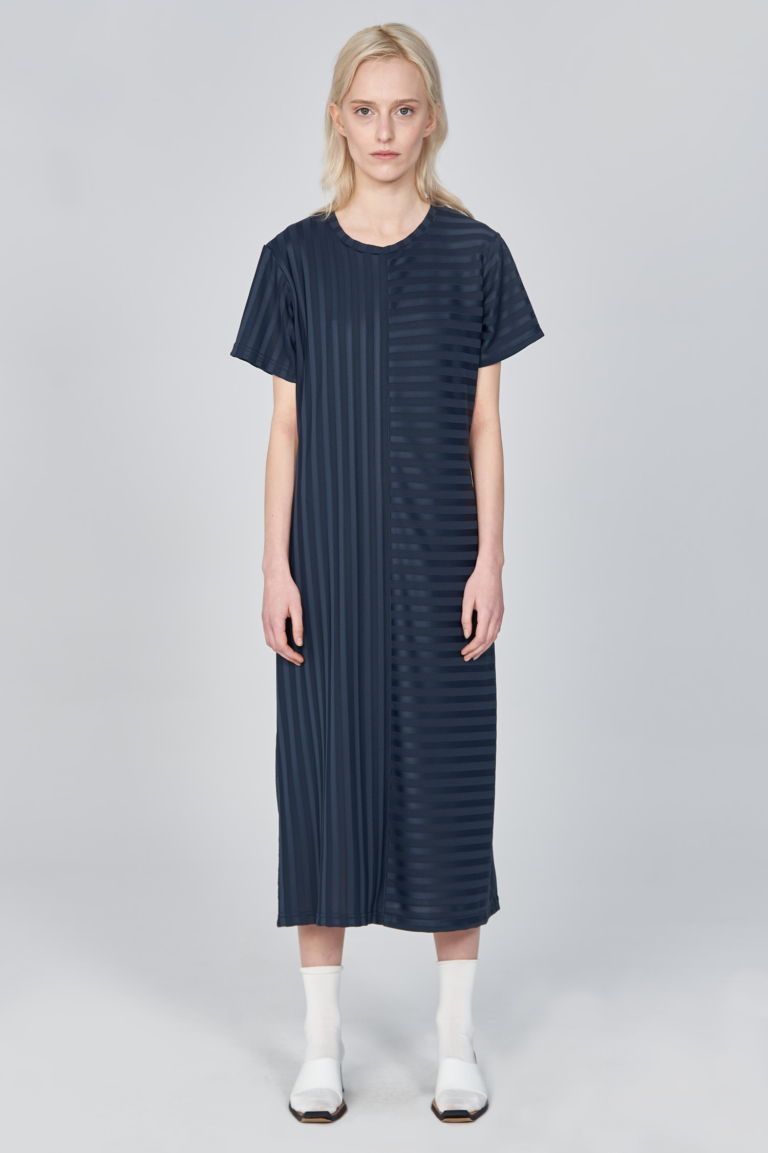 Acephala Ss21 Ribbed T Shirt Dress Front 2
