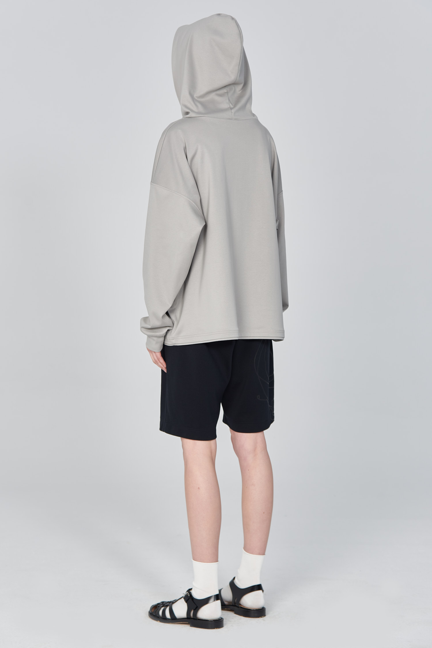 Acephala Ss21 Unisex Grey Hoodie With Graphic Print Back