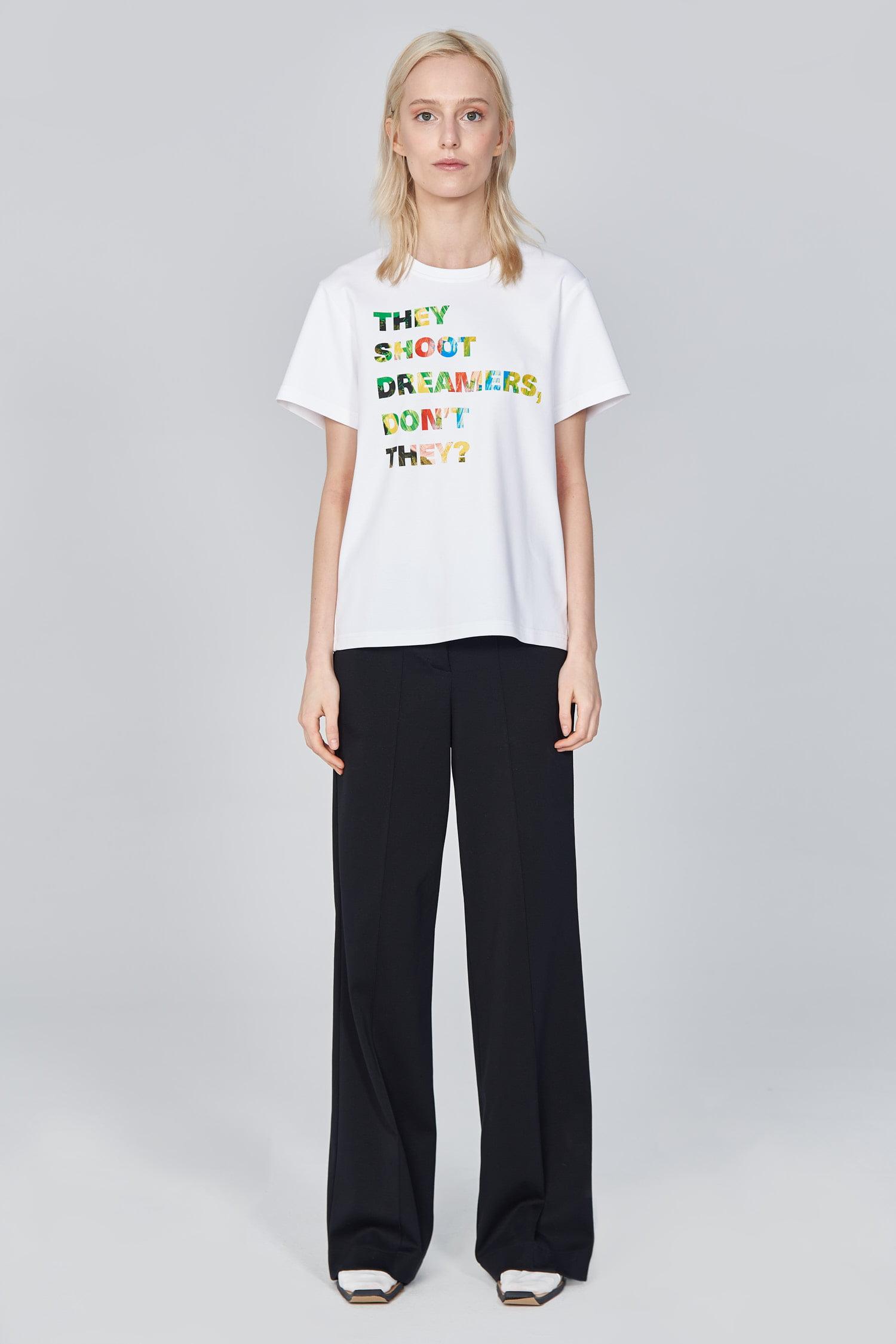 Acephala Ss21 White Slogan T Shirt Front