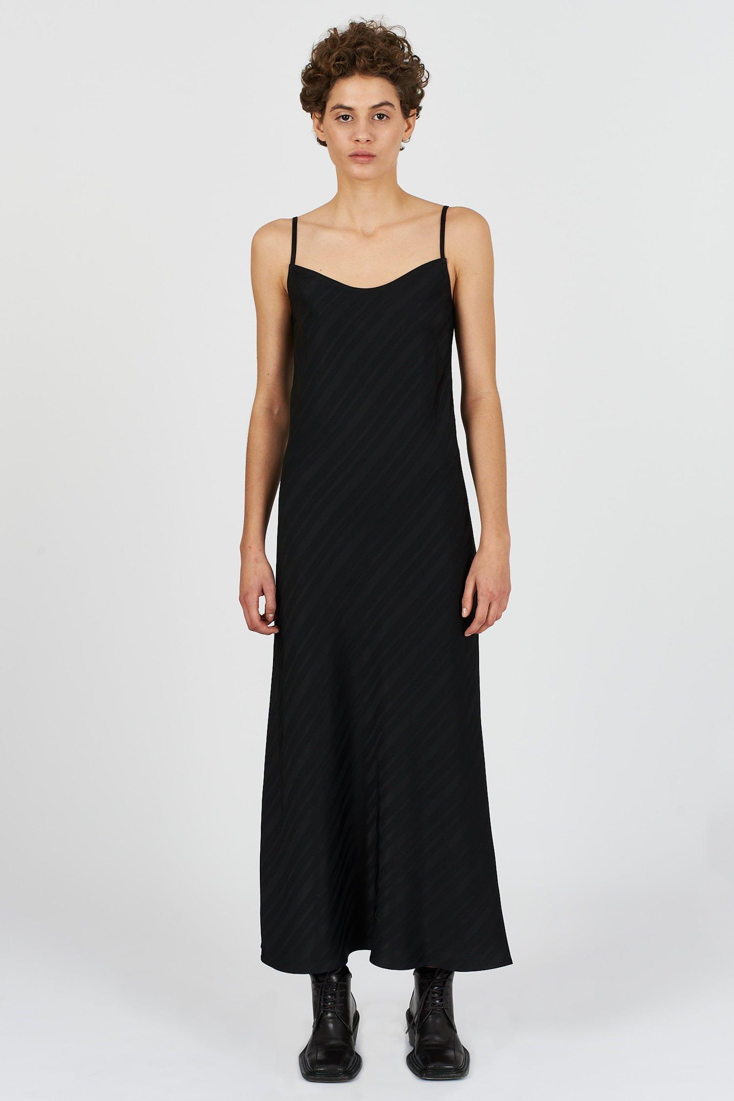 Acephala Fw2021 22 Black Jacquard Slip Dress 06