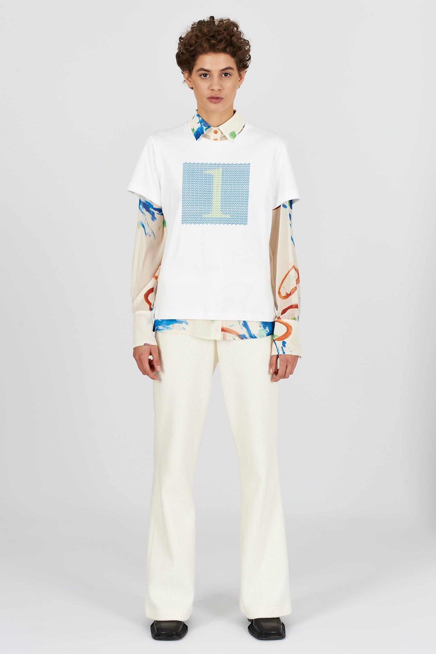 Acephala Fw2021 22 Lime Blue Print T Shirt 01