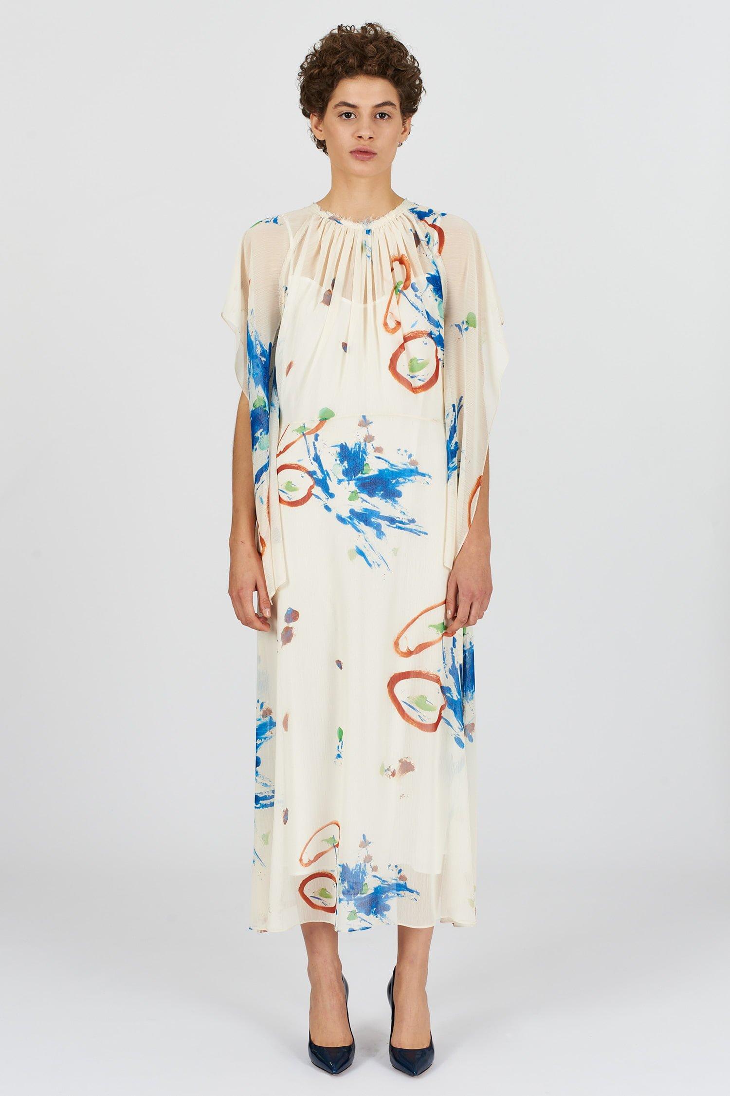 Acephala Fw2021 22 Transparent Printed Long Dress 01