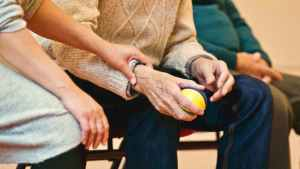 person holding a stress ball