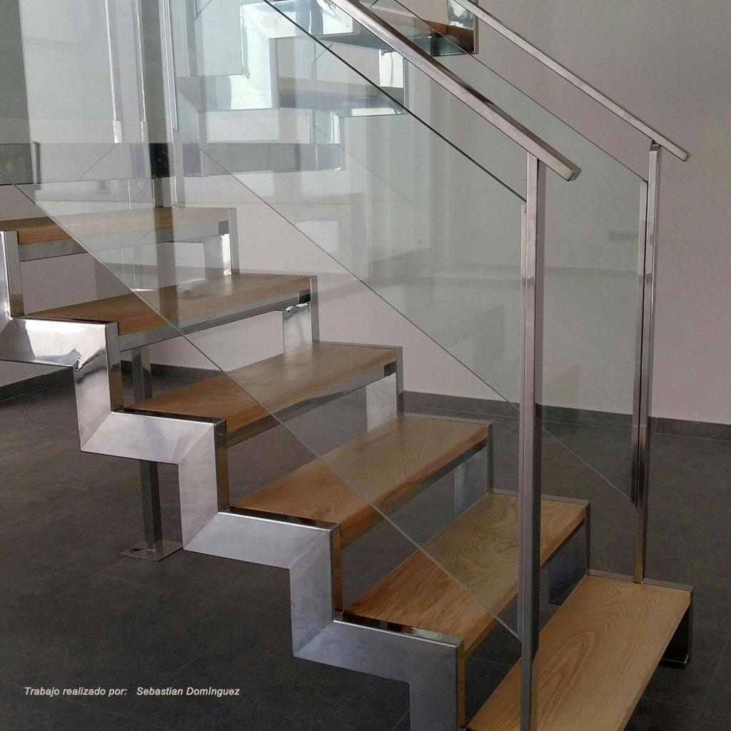 Escalera con peldaos de madera n 9  Acero Inoxidable