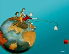 Charges sobre meio ambiente.Autor Biratan Porto.