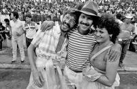 Sérgio Palmequist, Biratan Porto e Ruth Vieira. Carnaval em Belém . 1985 Foto Paulo Santos