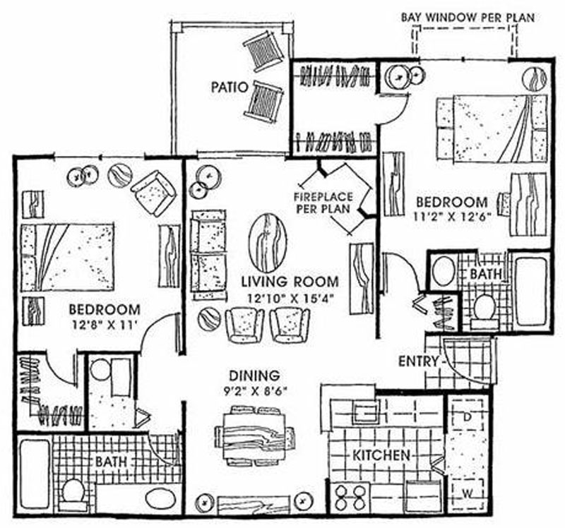 ParcReston Condo Unit J - Floorplan and Layout