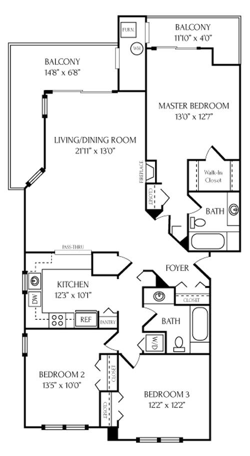 20576 Snowshoe Square #201, Ashburn, VA -  Floorplans and Layout