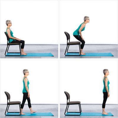 Chair and different yoga poses Donkey kick For butt Enlargement