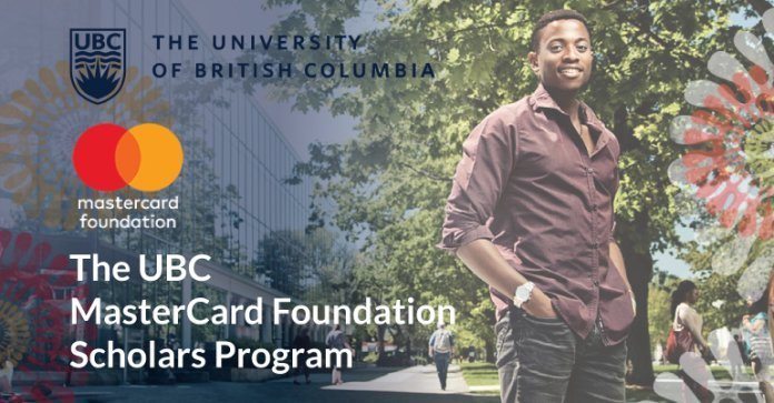 MasterCard Foundation Scholarship at the University of British Columbia, Canada