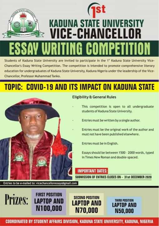 KASU Vice-Chancellor Essay Writing Competition 2020