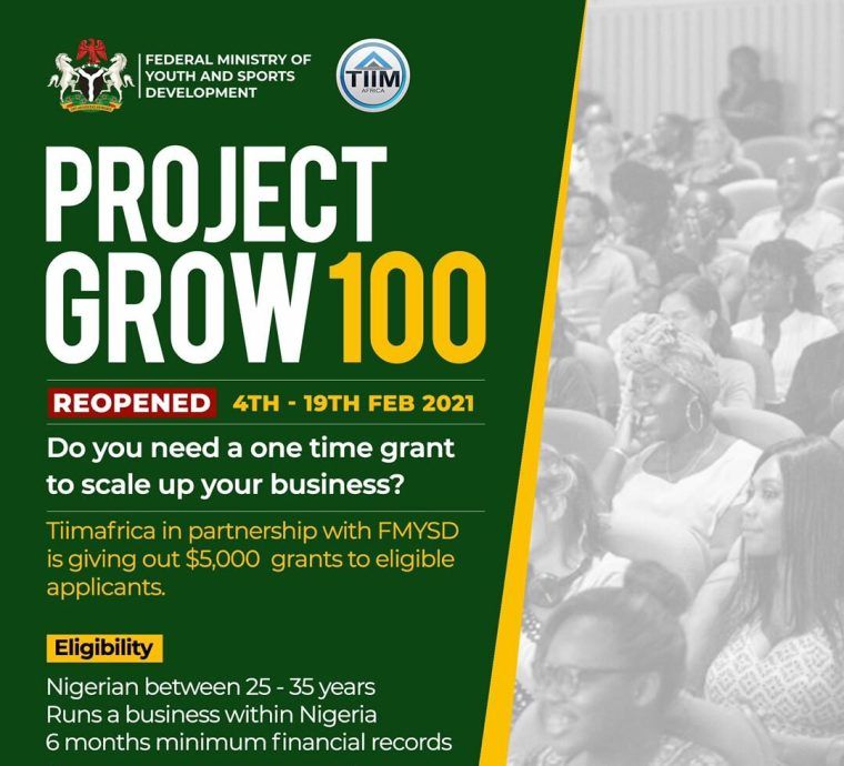 $5,000 Project Grow 100 Grant for Nigerian Youths